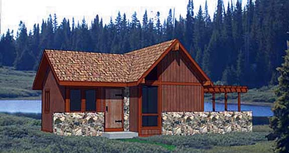 Cabin House Plan 94330 with 1 Beds, 1 Baths Front Elevation