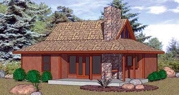 Cabin House Plan 94332 with 2 Beds, 1 Baths Front Elevation