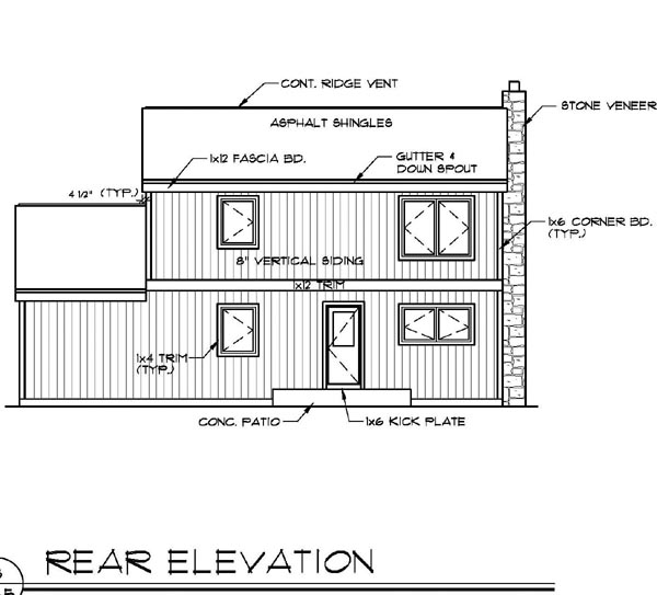Contemporary House Plan 94334 Rear Elevation