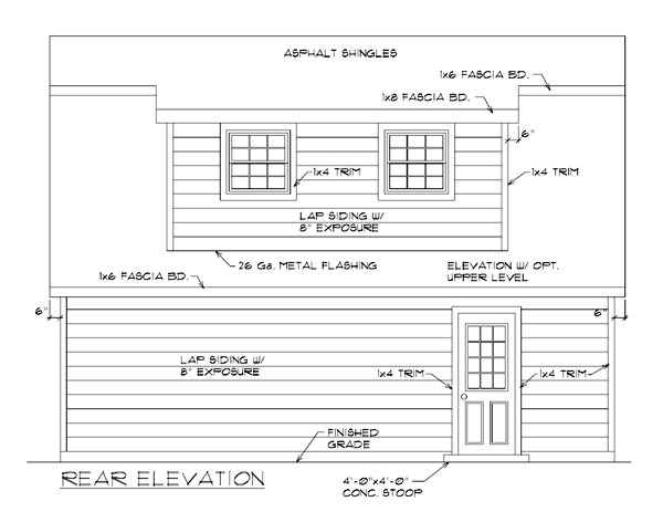Garage Plan 94343 Rear Elevation