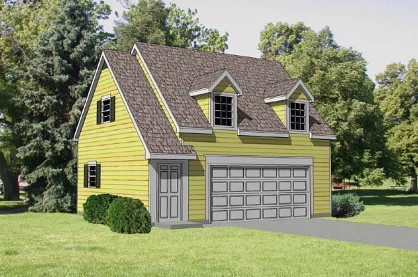 2 Car Garage Apartment Plan 94345 with 1 Beds, 1 Baths Elevation