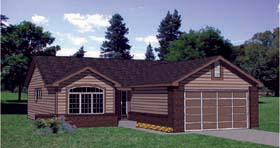Ranch House Plan 94350 with 2 Beds, 2 Baths, 2 Car Garage Elevation
