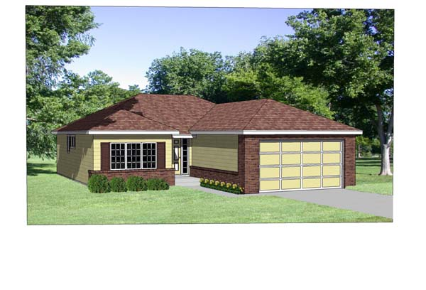 Traditional House Plan 94351 with 2 Beds , 2 Baths , 2 Car Garage Elevation