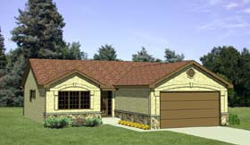 One-Story , Ranch House Plan 94352 with 2 Beds, 2 Baths, 2 Car Garage Elevation