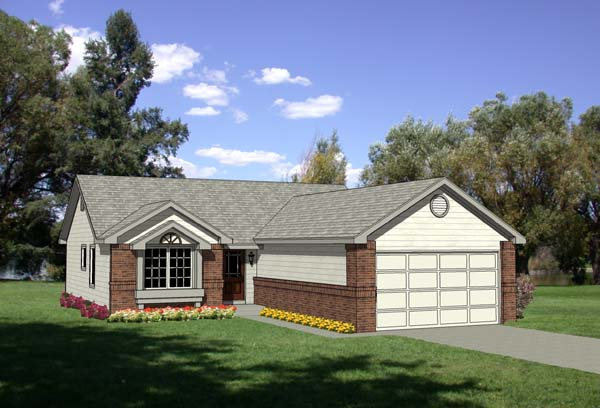 One-Story, Ranch House Plan 94353 with 3 Beds, 2 Baths, 2 Car Garage Elevation