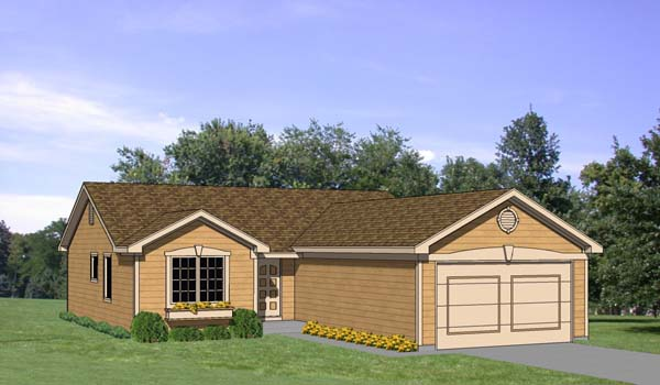 One-Story, Ranch House Plan 94354 with 3 Beds, 2 Baths, 2 Car Garage Elevation