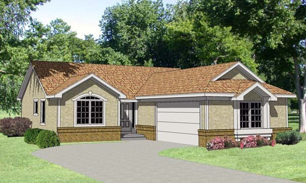 One-Story, Ranch House Plan 94355 with 3 Beds , 2 Baths , 2 Car Garage Elevation