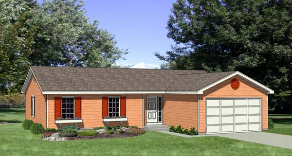 One-Story, Ranch House Plan 94356 with 3 Beds, 2 Baths, 2 Car Garage Elevation