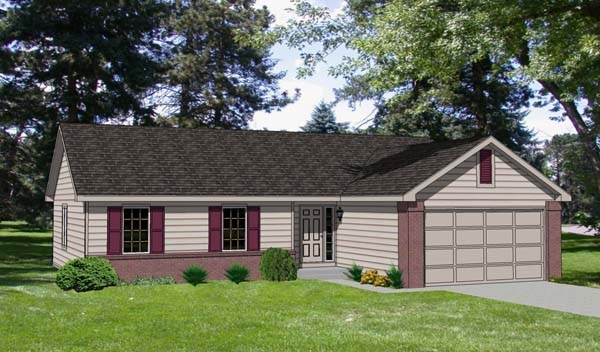 One-Story, Ranch House Plan 94357 with 3 Beds, 2 Baths, 2 Car Garage Elevation