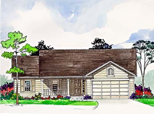 One-Story, Ranch House Plan 94358 with 3 Beds, 2 Baths, 2 Car Garage Elevation