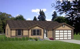 Ranch House Plan 94361 with 4 Beds, 2 Baths, 2 Car Garage Elevation