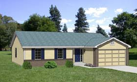 Ranch House Plan 94362 with 4 Beds, 2 Baths, 2 Car Garage Elevation