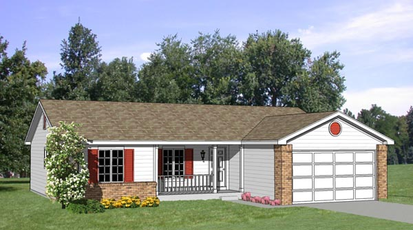 Ranch House Plan 94363 with 4 Beds, 2 Baths, 2 Car Garage Elevation