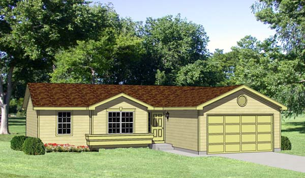 Ranch House Plan 94366 with 3 Beds, 2 Baths, 2 Car Garage Elevation