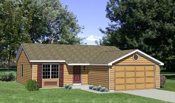 Ranch House Plan 94368 with 3 Beds, 2 Baths, 2 Car Garage Elevation