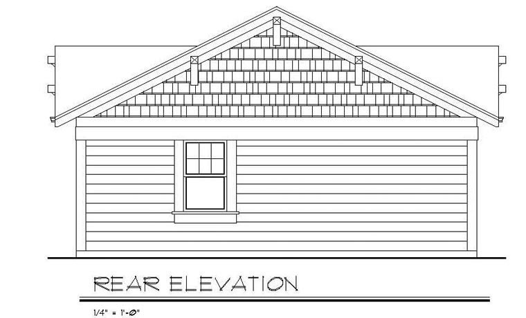 Cottage Country Craftsman House Plan 94371 Rear Elevation