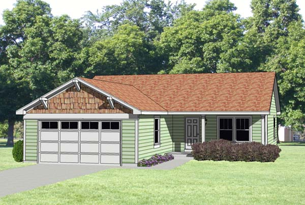 One-Story, Ranch House Plan 94373 with 3 Beds, 2 Baths, 2 Car Garage Elevation