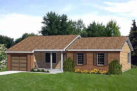 Ranch House Plan 94375 with 3 Beds, 2 Baths, 1 Car Garage Elevation