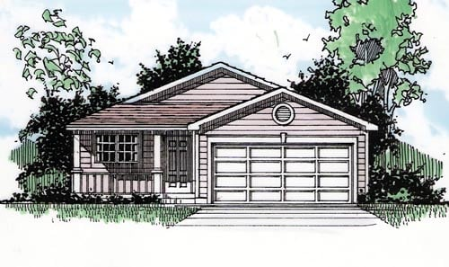Country, Ranch House Plan 94378 with 2 Beds, 2 Baths, 2 Car Garage Elevation