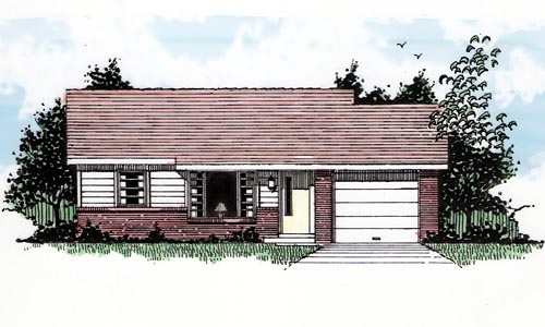 Ranch House Plan 94382 with 2 Beds , 1 Baths , 1 Car Garage Elevation