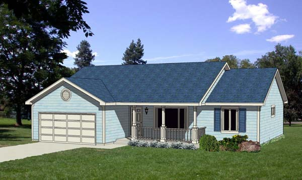 Ranch , Traditional House Plan 94385 with 3 Beds, 2 Baths, 2 Car Garage Elevation