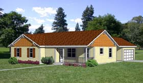 Ranch House Plan 94387 with 4 Beds, 2 Baths, 2 Car Garage Elevation