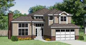 House Plan 94397 | Contemporary Traditional Style Plan with 2566 Sq Ft, 3 Bedrooms, 3 Bathrooms, 2 Car Garage Elevation