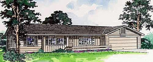 One-Story, Ranch House Plan 94402 with 3 Beds, 1 Baths, 1 Car Garage Elevation