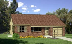 Ranch House Plan 94403 with 3 Beds, 1 Baths, 1 Car Garage Elevation