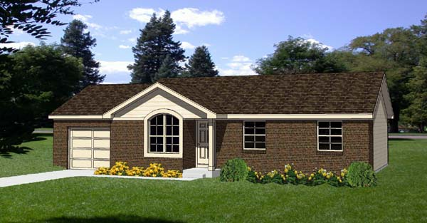 One-Story, Ranch House Plan 94405 with 3 Beds, 1 Baths, 1 Car Garage Elevation