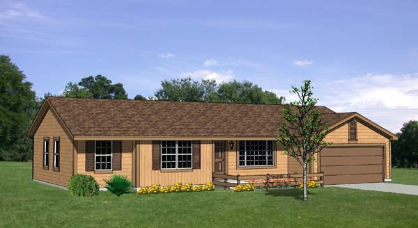 Ranch House Plan 94412 with 3 Beds, 3 Baths, 2 Car Garage Elevation