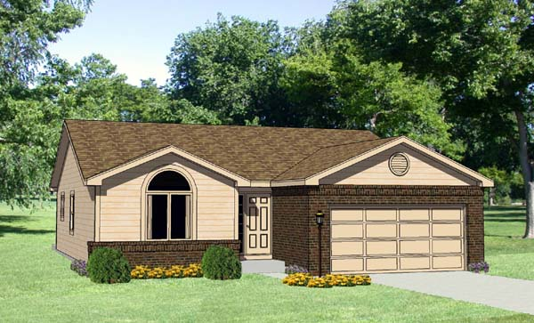 Ranch House Plan 94417 with 3 Beds, 2 Baths, 2 Car Garage Elevation