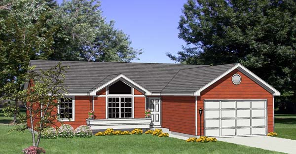 One-Story, Ranch House Plan 94422 with 3 Beds, 2 Baths, 2 Car Garage Elevation