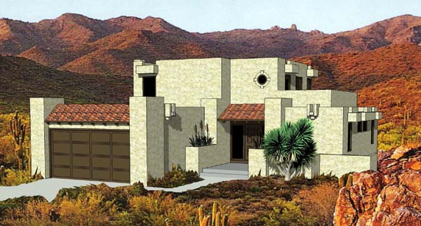 Santa Fe , Southwest House Plan 94423 with 3 Beds, 3 Baths, 2 Car Garage Elevation