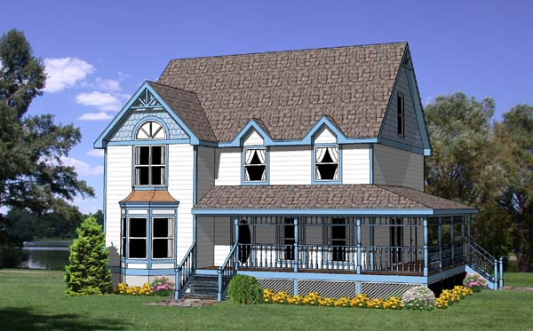 Country Craftsman Farmhouse Elevation of Plan 94424