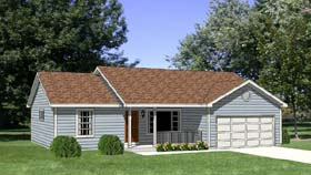 House Plan 94426 | Ranch Style Plan with 1158 Sq Ft, 3 Bedrooms, 2 Bathrooms, 2 Car Garage Elevation