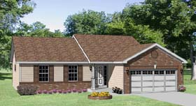 Ranch House Plan 94434 with 3 Beds, 2 Baths, 2 Car Garage Elevation