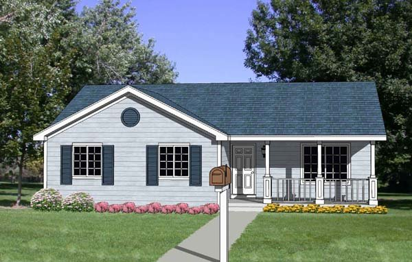 Ranch House Plan 94435 with 3 Beds, 2 Baths Elevation