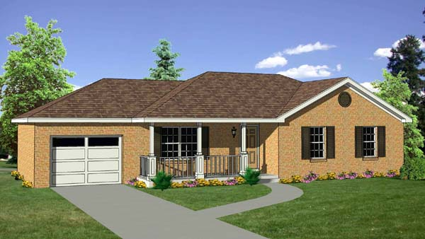 Ranch House Plan 94442 with 3 Beds, 2 Baths, 1 Car Garage Elevation