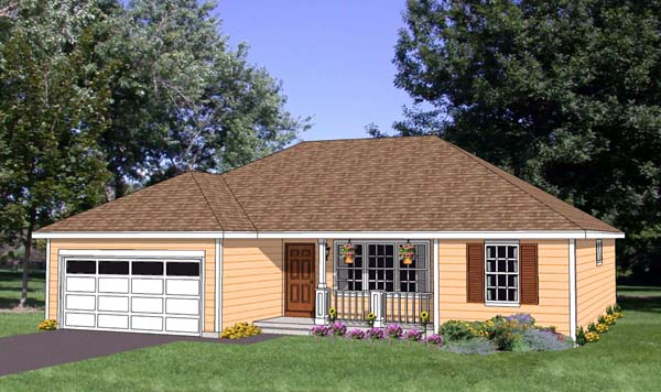 Ranch House Plan 94446 with 3 Beds, 2 Baths, 2 Car Garage Front Elevation