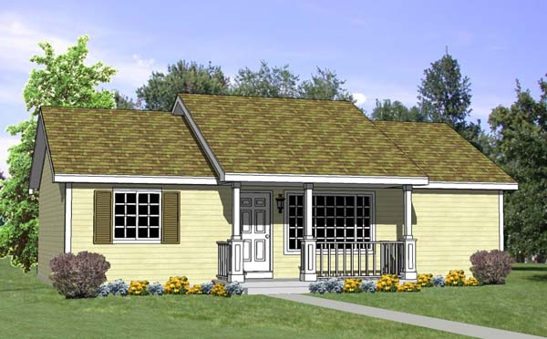 Ranch House Plan 94451 with 4 Beds, 2 Baths Elevation