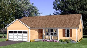House Plan 94461 | Ranch Style Plan with 1296 Sq Ft, 3 Bedrooms, 2 Bathrooms, 2 Car Garage Elevation