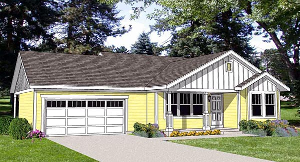 Ranch House Plan 94462 with 2 Beds, 2 Baths, 2 Car Garage Elevation