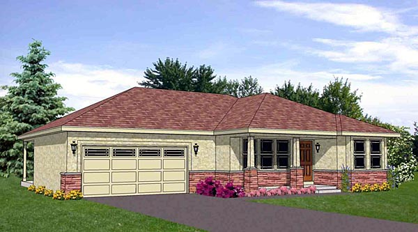 House Plan 94464 | Southwest Style Plan with 1460 Sq Ft, 2 Bedrooms, 2 Bathrooms, 2 Car Garage Elevation