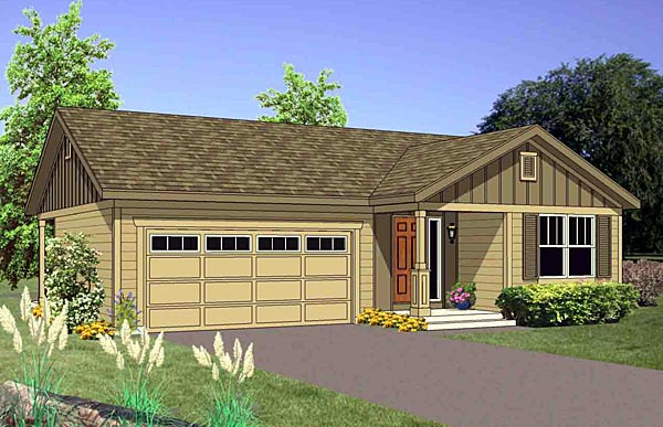 Narrow Lot, One-Story, Traditional House Plan 94465 with 3 Beds, 2 Baths, 2 Car Garage Front Elevation
