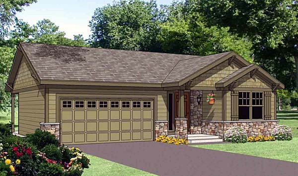 Narrow Lot, One-Story, Traditional House Plan 94466 with 3 Beds, 2 Baths, 2 Car Garage Elevation