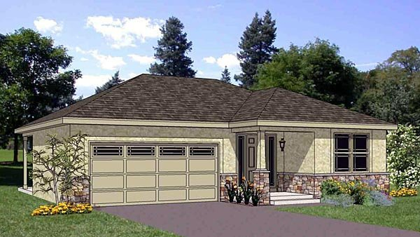 Narrow Lot One-Story Southwest Elevation of Plan 94467