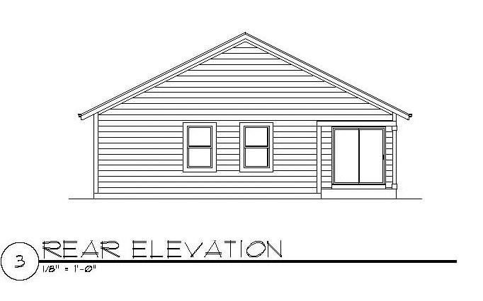 Craftsman Rear Elevation of Plan 94472