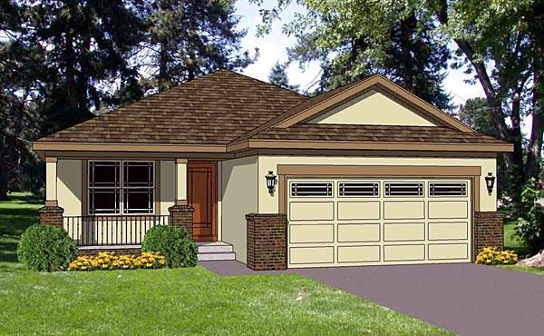 Southwest House Plan 94473 with 3 Beds, 2 Baths, 2 Car Garage Elevation