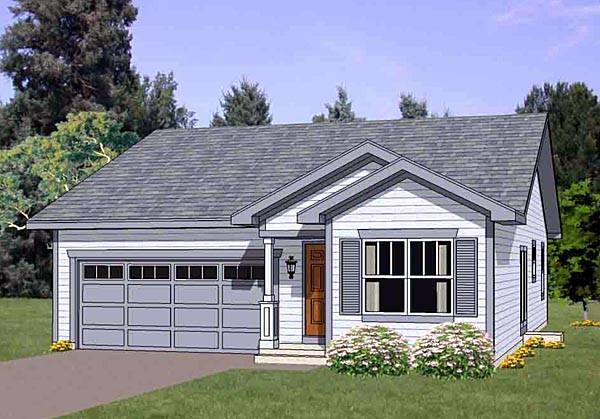 Narrow Lot, One-Story, Traditional House Plan 94474 with 3 Beds, 2 Baths, 2 Car Garage Elevation